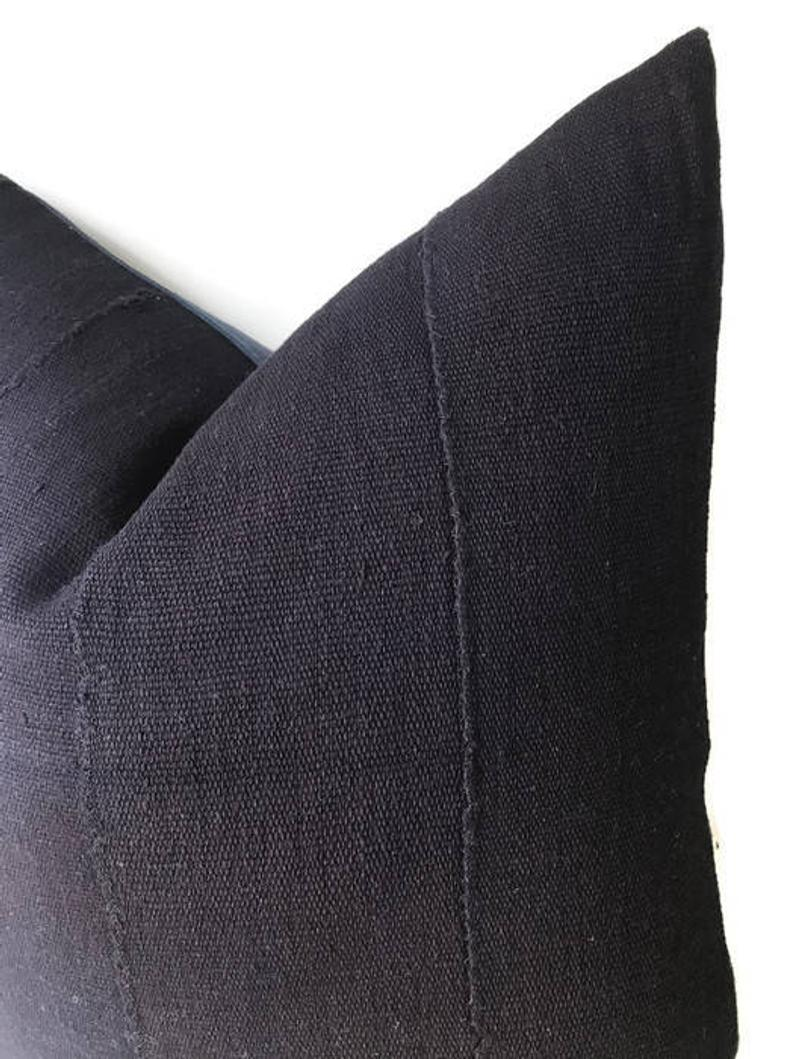 Solid Indigo Blue Mudcloth Pillow Cover