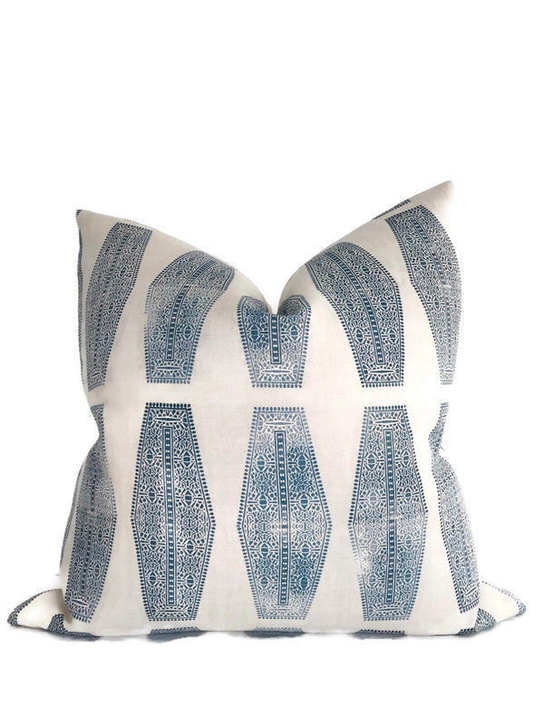 Inlay Pillow Cover in Lake Blue