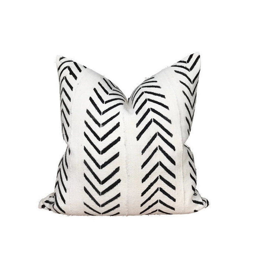 Inverse Chevron Print Mudcloth Pillow Cover in Ivory