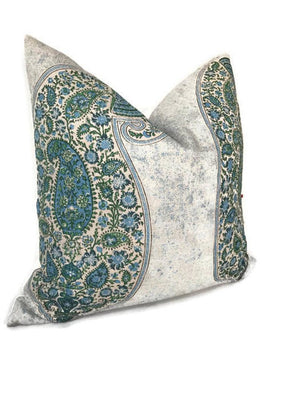 Peter Dunham Isfahan Paisley Pillow Cover in Blue Green