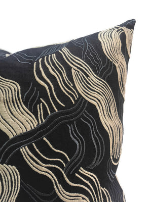 Kelly Wearstler Jubilee Embroidered Pillow Cover in Onyx
