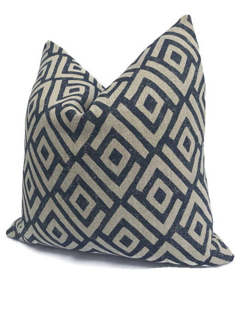 Schumacher Kasai Pillow Cover in Indigo Blue