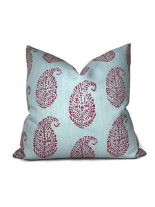 Peter Dunham Kashmir Paisley Pillow Cover in Red Blue