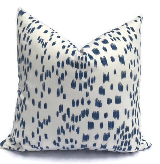 Les Touches Pillow Cover in Blue