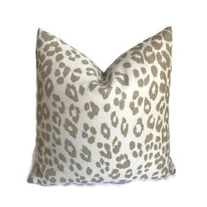Schumacher Outdoor Iconic Leopard Pillow Cover in Linen Brown
