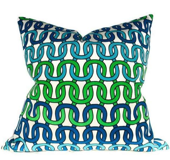 Schumacher Trina Turk Loop De Loop Outdoor Pillow Cover in Azure