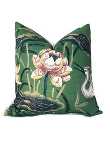 Schumacher Lotus Garden Pillow Cover in Jade Green