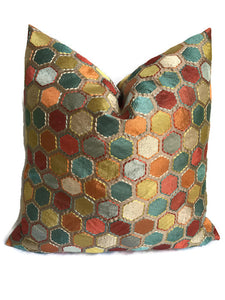 Multicolor Embroidered Hexagon Pillow Cover