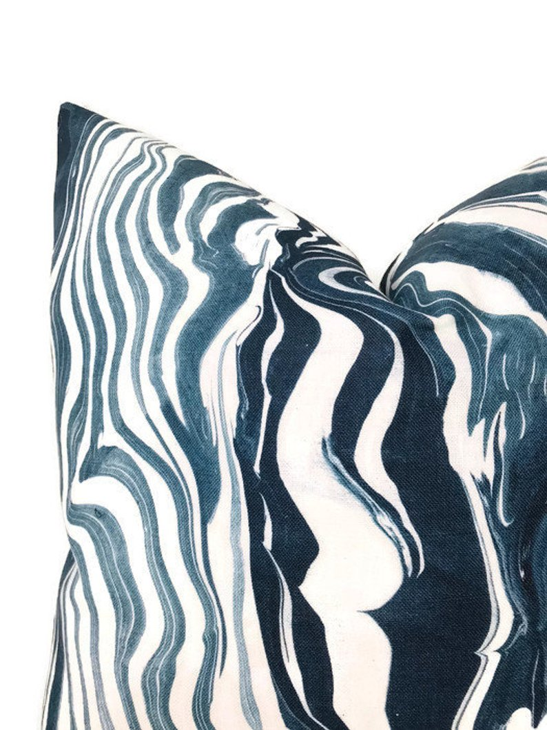 Marbled Stripe Pillow Cover in Navy Blue