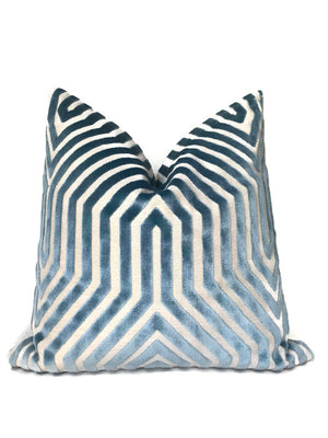 Schumacher Vanderbilt Velvet Pillow Cover in Marine Blue