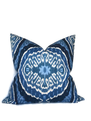 Denim Blue Ikat Pillow Cover