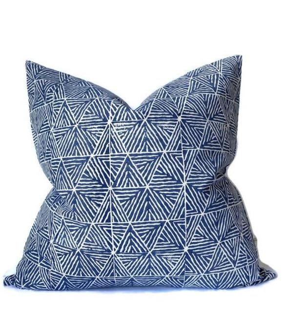 Ready to Ship, 24x24 Mombasa Pillow Cover in Navy Blue