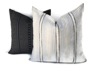 Schumacher Moncorvo Stripe Pillow Cover in Le Mirage Blue