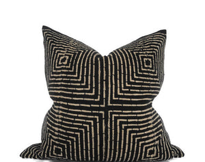 Squares Print Tribal Mudcloth Pillow Cover in Black