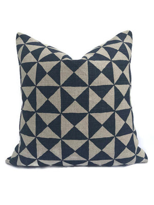 Schumacher Nuba Pillow Cover in Indigo Blue