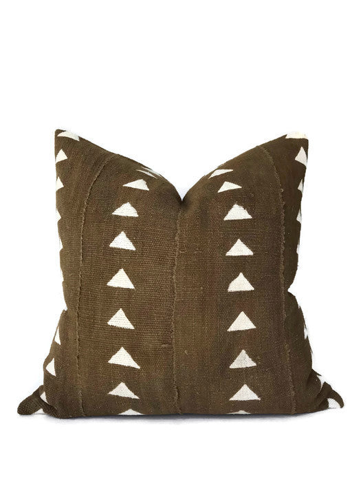 Arrow Print Mudcloth Pillow Cover in Olive
