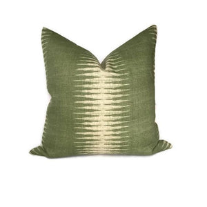 Peter Dunham Ikat Pillow Cover in Olive Green