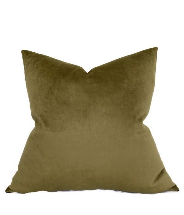 Robert Allen Velvet Pillow Cover in Olive