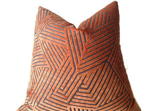 Orange Maze Velvet Pillow Cover