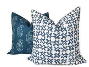Peter Dunham Textiles Orcha Pillow Cover in Indigo Blue