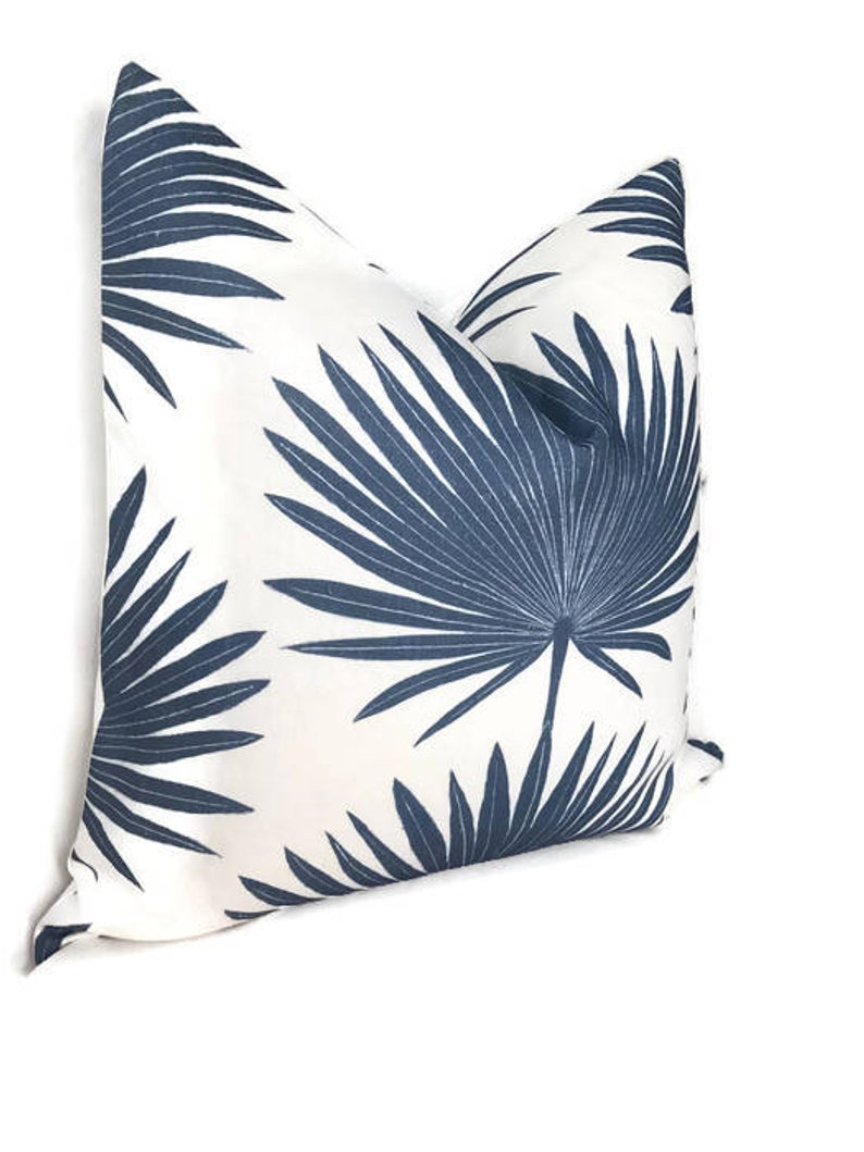 Clay McLaurin Palmetto Pillow Cover in Cadet Blue