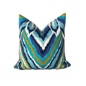 Schumacher Trina Turk Peacock Print Pillow Cover in Pool