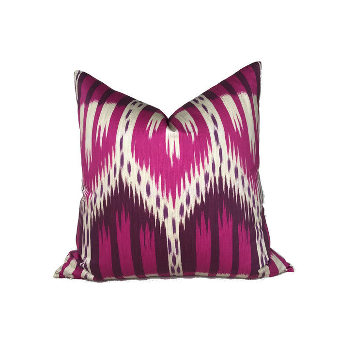 Schumacher Bukhara Ikat Pillow Cover in Fuchsia