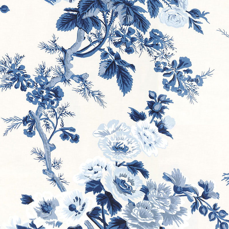 Schumacher Pyne Hollyhock Floral Wallpaper