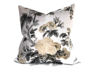Schumacher Pyne Hollyhock Pillow Cover in Grisaille
