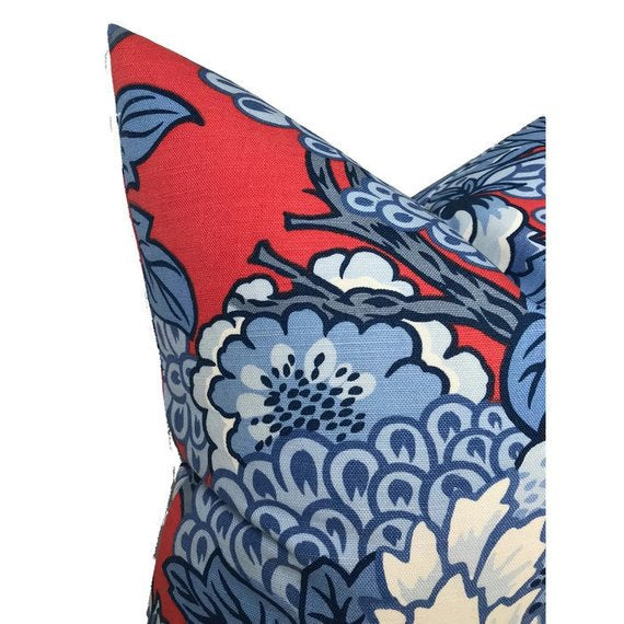 Honshu Pillow Cover in Red and Blue