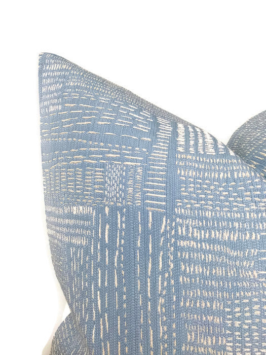 Shashiko Pillow Cover in Pale Mist Blue