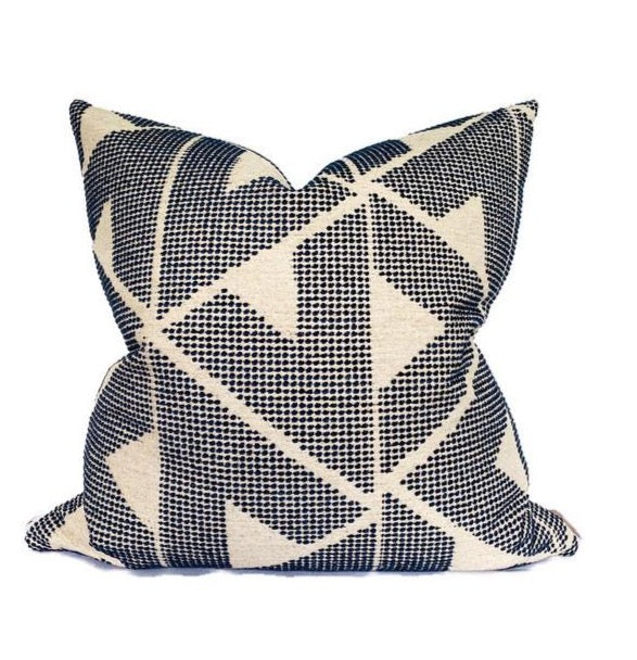 Schumacher Sierra Pillow Cover in Indigo Blue