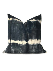 Striped African Mudcloth Pillow Cover in Slate