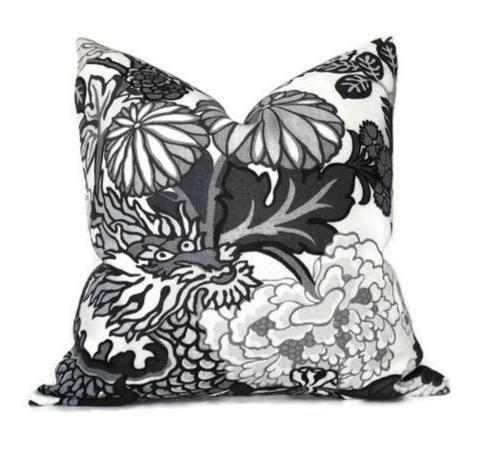 Schumacher Chiang Mai Dragon Pillow Cover in Smoke
