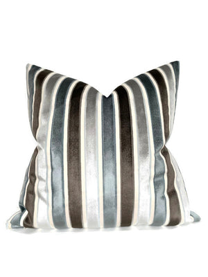 Robert Allen Striped Velvet Pillow Cover in Aqua