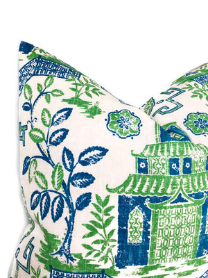 Blue and Green Teahouse Pillow Cover, Chinoiserie Pillow