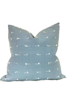 Schumacher Teton Embroidered Pillow Cover in Sky Blue
