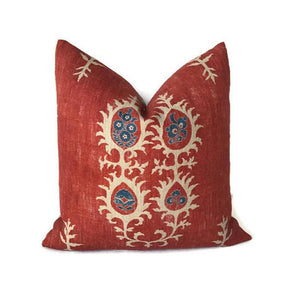 Tribal Pillow Cover in Flame Red