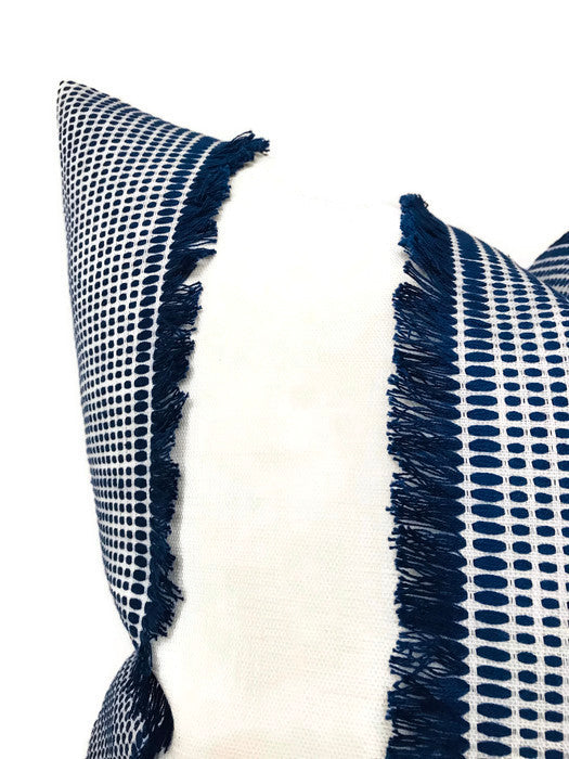 Schumacher Tulum Embroidered Pillow Cover in Blue