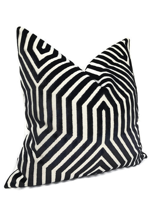 Schumacher Vanderbilt Pillow Cover in Noir Black