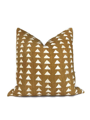 Arrow Print Mudcloth Pillow Cover in Mustard Yellow