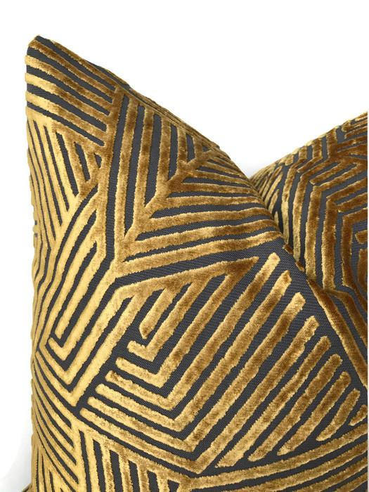 Golden Yellow Maze Velvet Pillow Cover
