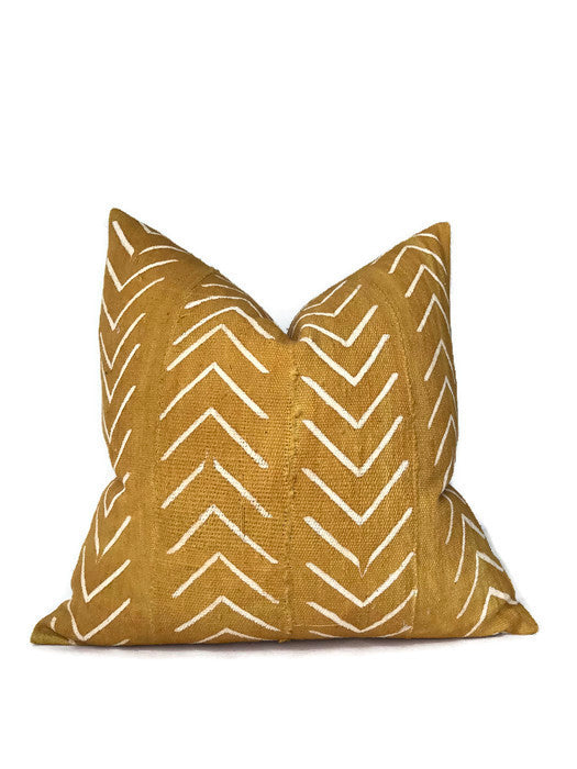 Chevron Print Mudcloth Pillow Cover in Mustard Yellow