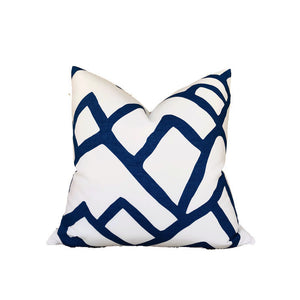 Schumacher Zimba Pillow Cover in Marine Blue