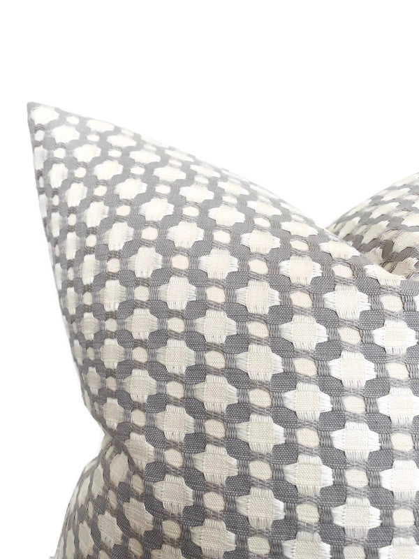 Schumacher Betwixt Pillow Cover in Zinc