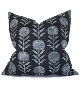 Clay McLaurin Zinnia Pillow Cover in Indigo Blue