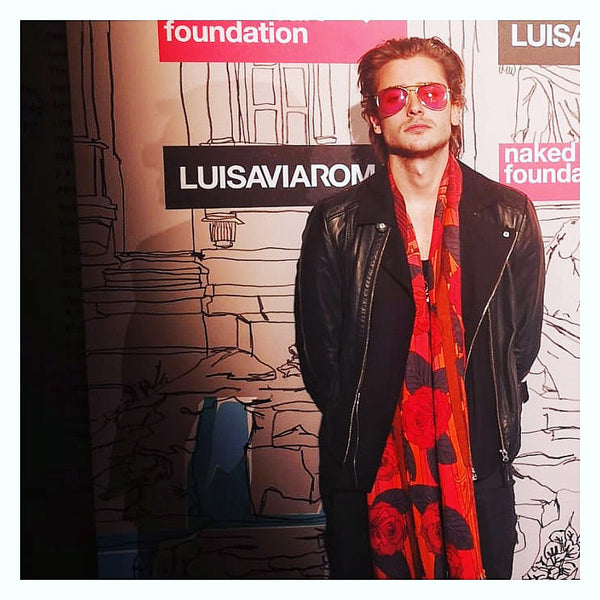 Elijah Rowen wears Maharaja's Rifle, Luxury Scarf London Fashion Week