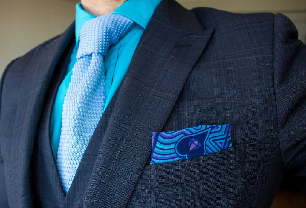Blue silk pocket square – Wedding Style