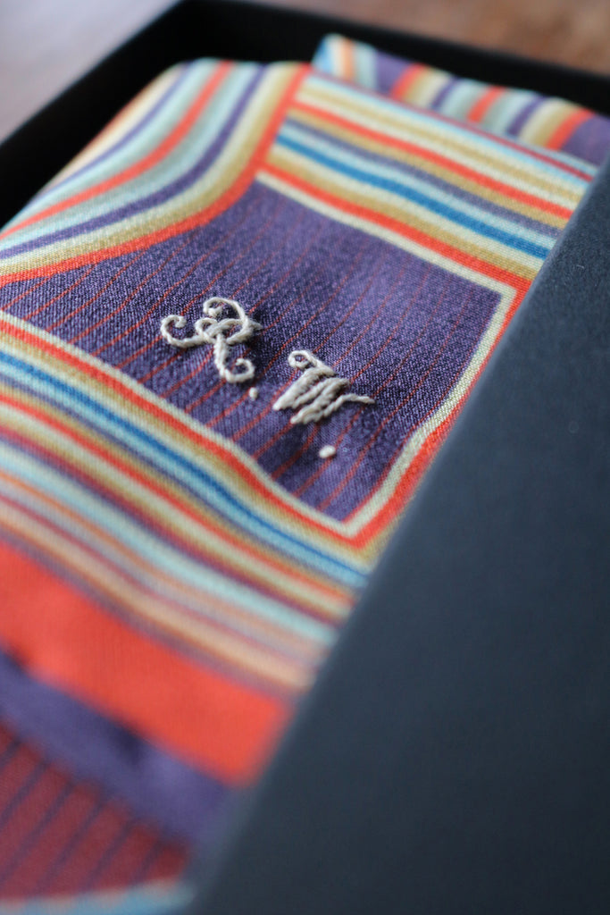 Custom embroidered bespoke luxury pocket square