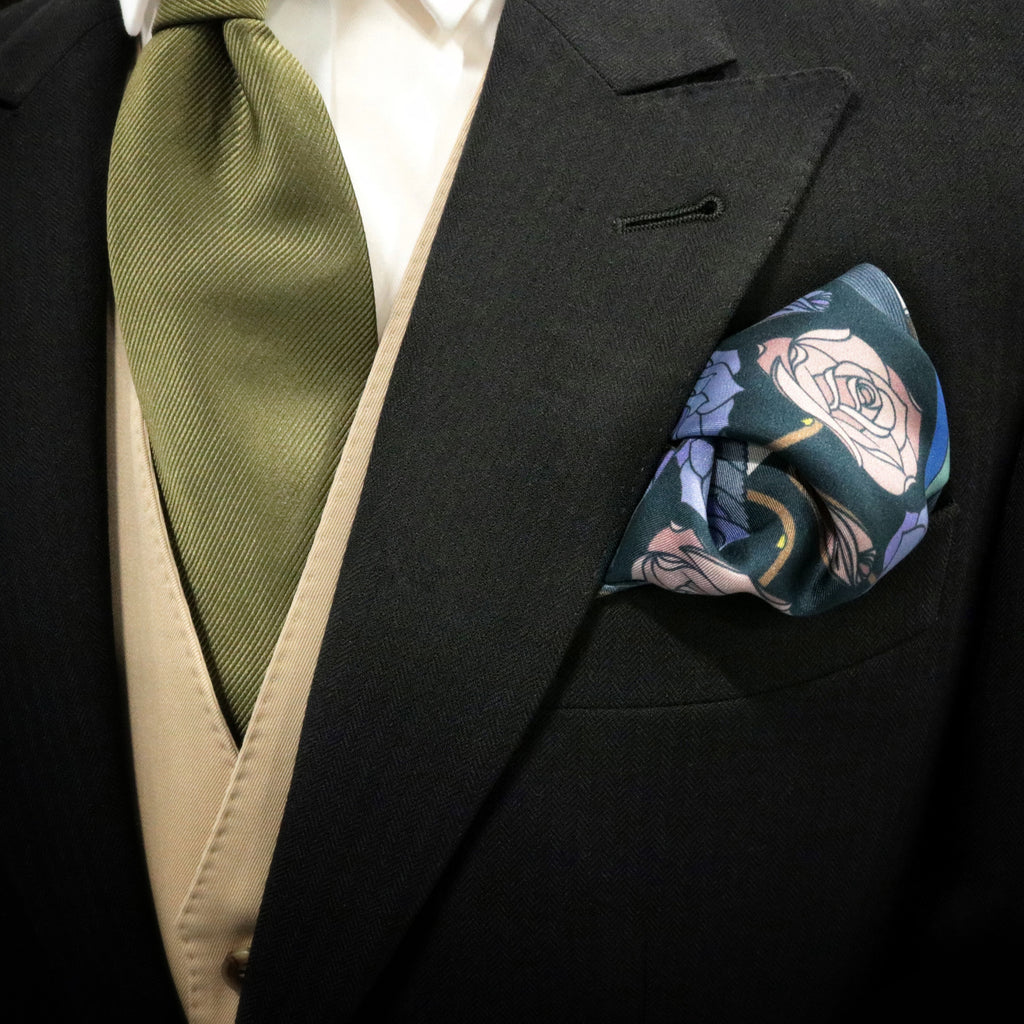 Designer Pocket Square, Groom's Pocket Square, Wedding Fashion, Groomsen Gift, Guns and Roses, Silk Hanky UK